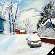 "Image: Today I have two new paintings under the works: ""A morning at Käpylä"" and ""An afternoon at Lanzarote""."